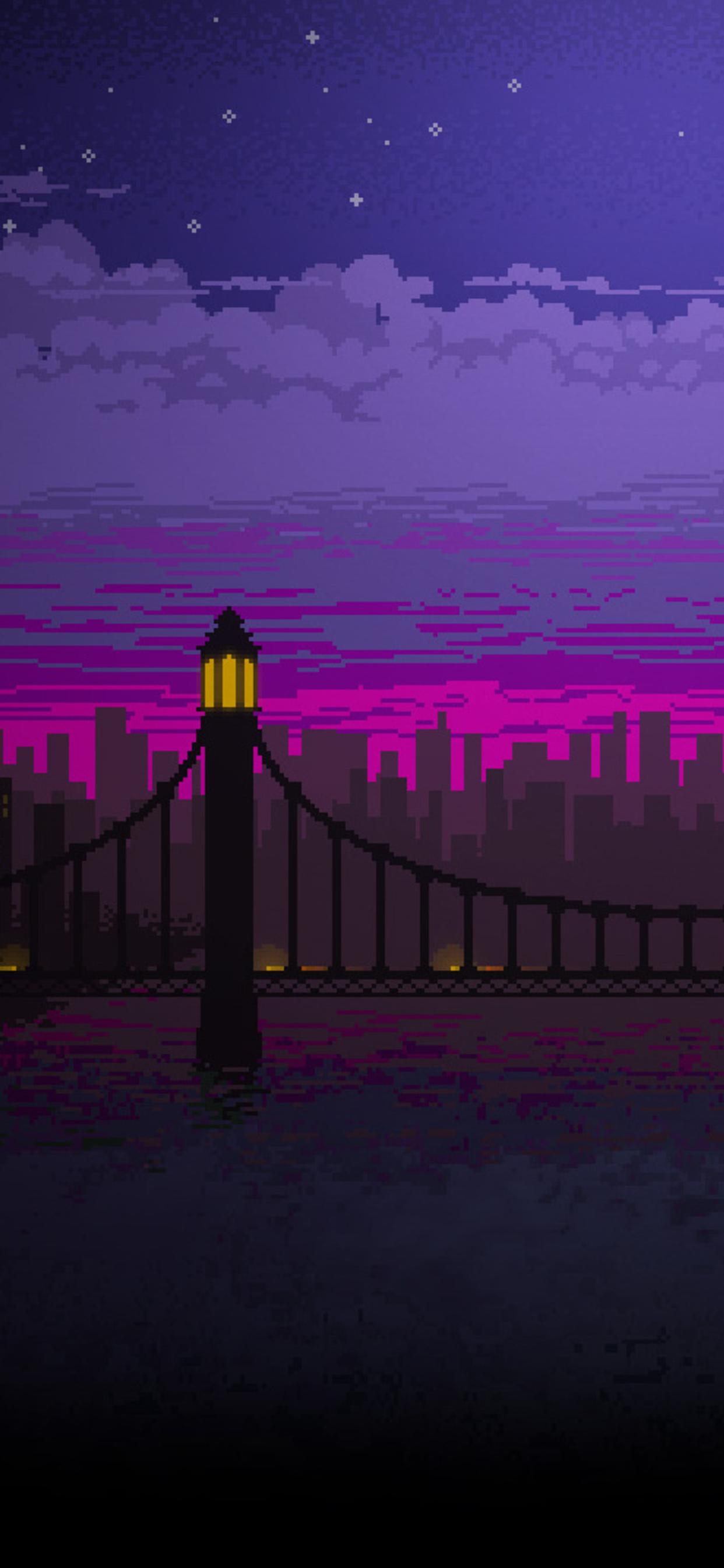 Wallpaper Keren 3d Hd Android 1242x2688 Pixel Art Bridge Night Iphone Xs Max Hd 4k