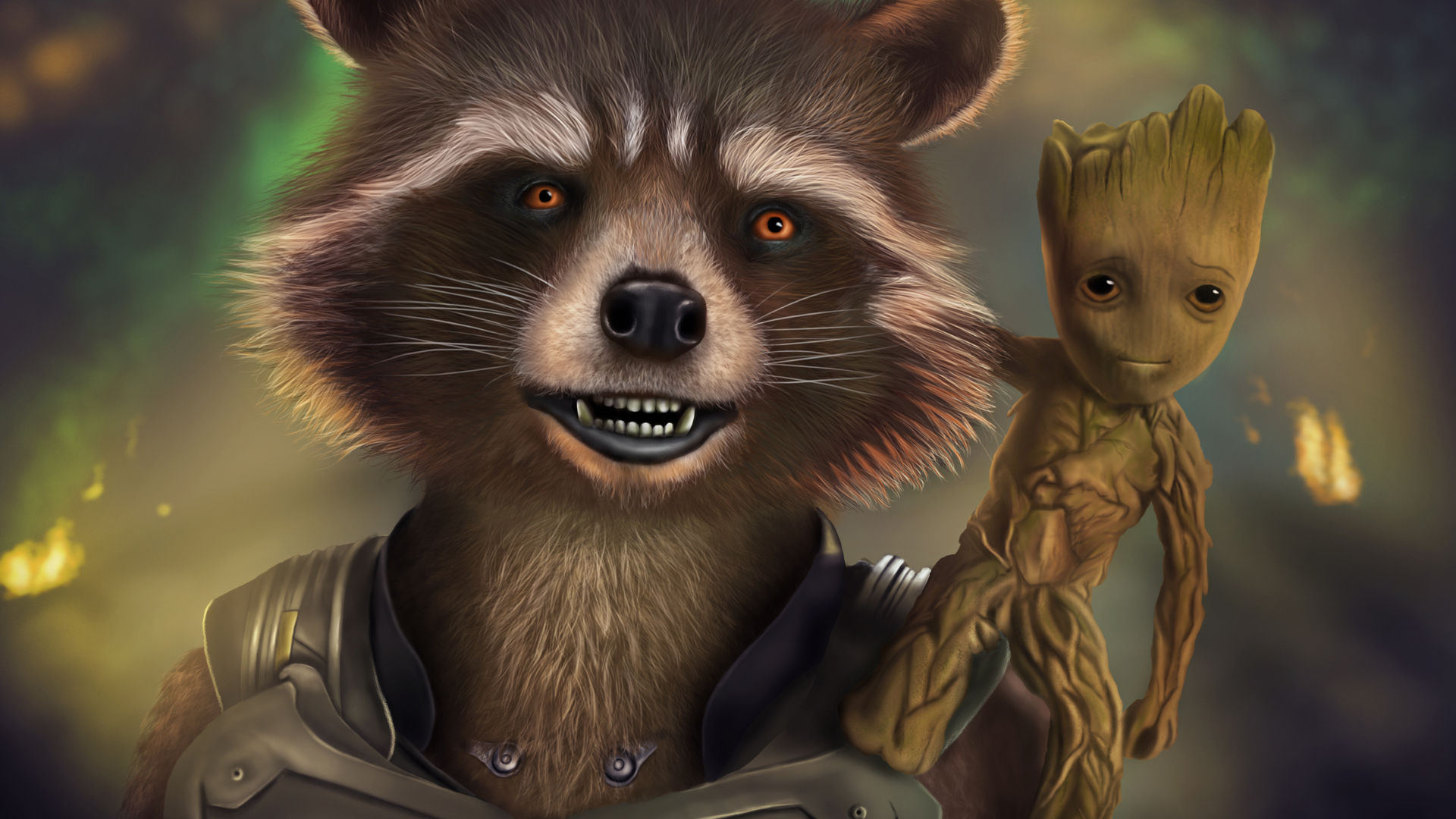 Cute Baby Hd Wallpaper For Laptop 1920x1080 Rocket And Baby Groot Artwork Laptop Full Hd