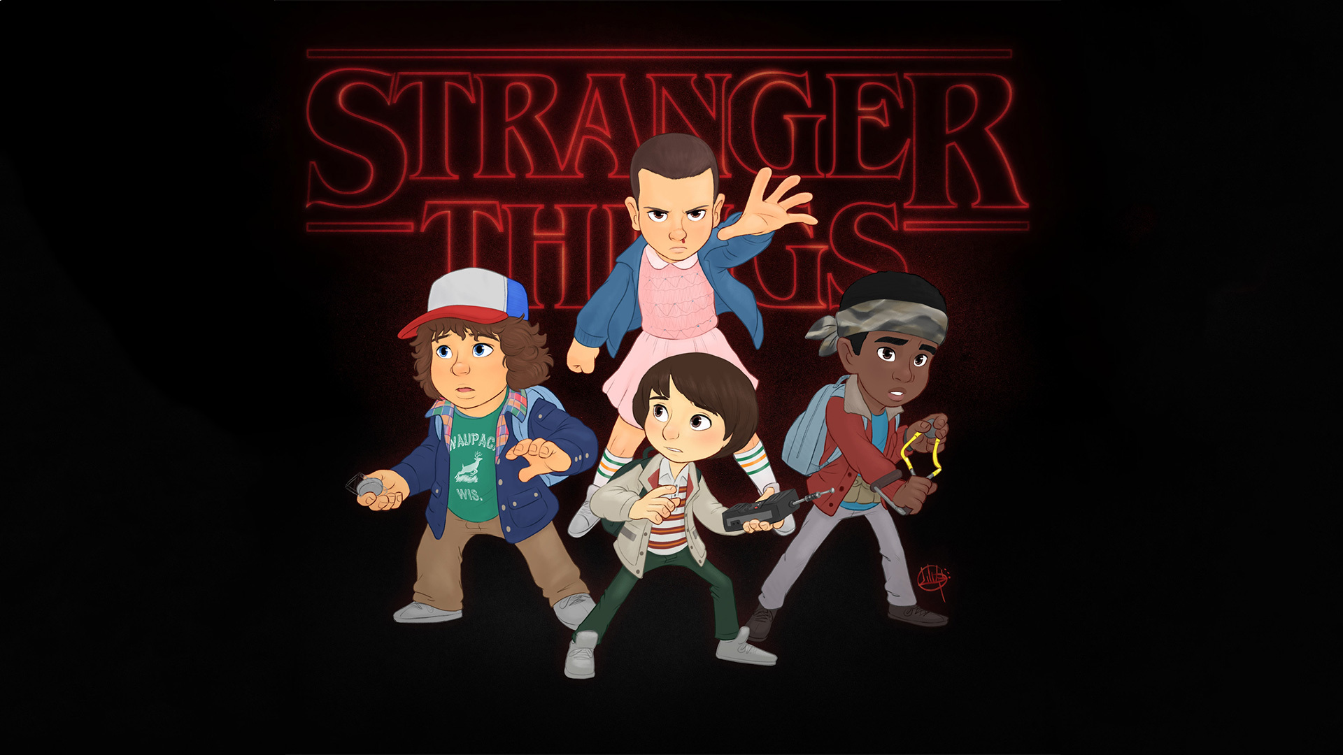 Gravity Falls Characters Wallpaper 2048x1152 1920x1080 Stranger Things Fanart Laptop Full Hd 1080p Hd