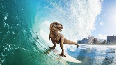 2048x1152 Surfing T Rex 2048x1152 Resolution HD 4k Wallpapers, Images, Backgrounds, Photos and ...