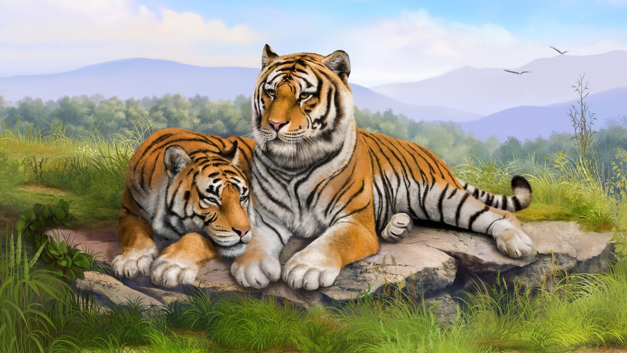 Cute Bengal Wallpapers Hd 1366x768 2048x1152 Tigers Art 2048x1152 Resolution Hd 4k Wallpapers