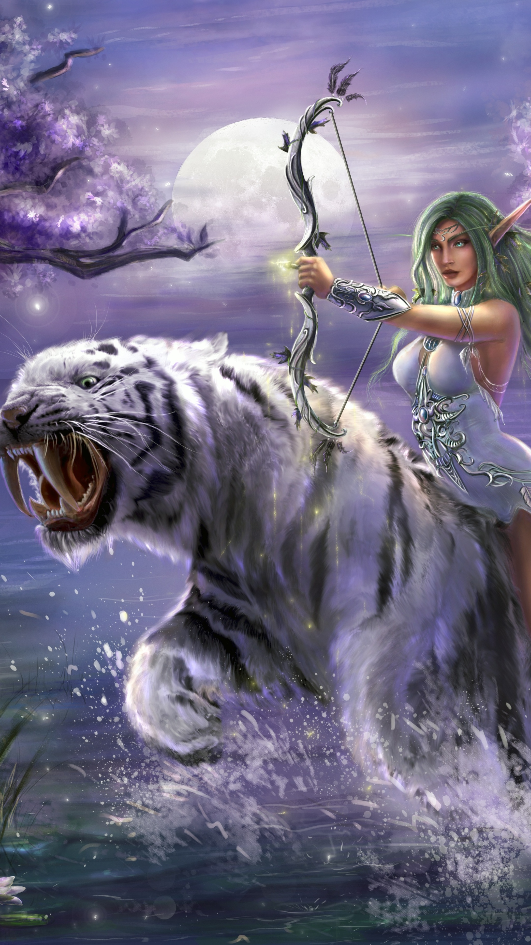 3d Tiger Wallpapers For Desktop 2160x3840 Tyrande Whisperwind World Of Warcraft 5k Sony