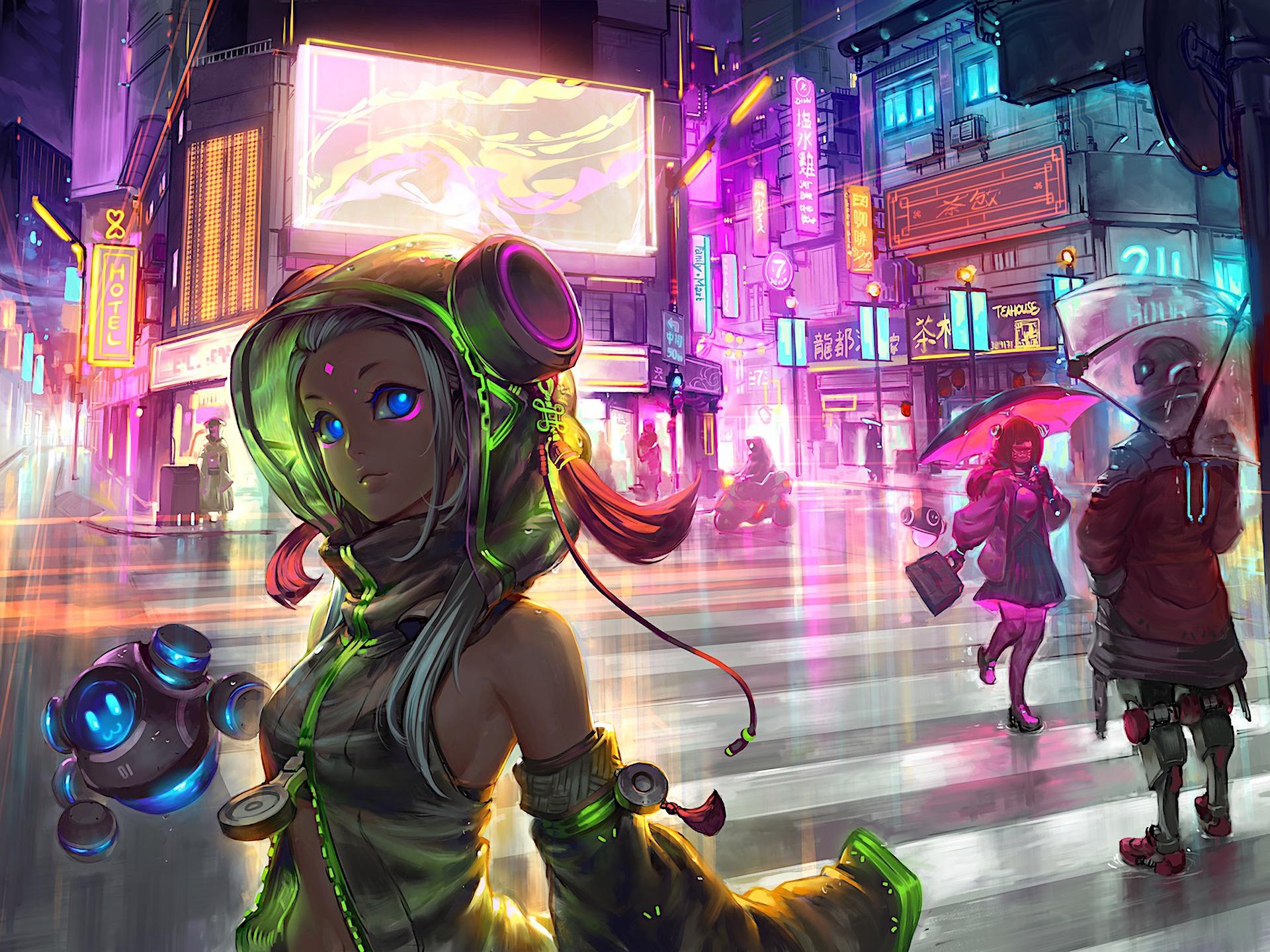 Indian Girl Hd Wallpaper 1920x1080 Anime Cyberpunk Scifi City Hd Anime 4k Wallpapers
