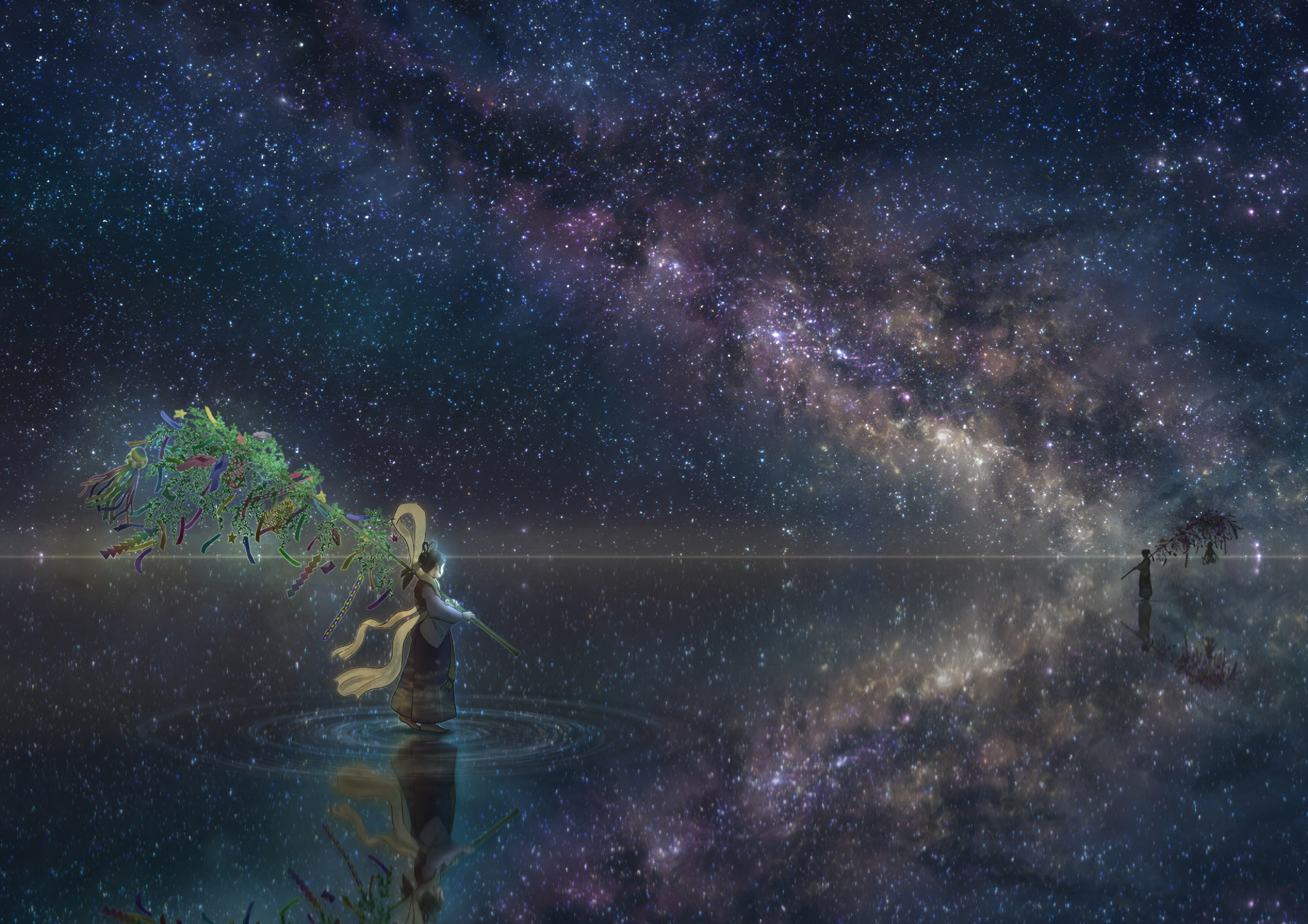 Anime Wallpaper Girl Looking At Stars Anime Girl Horizon Night Reflection Stars Hd Anime 4k