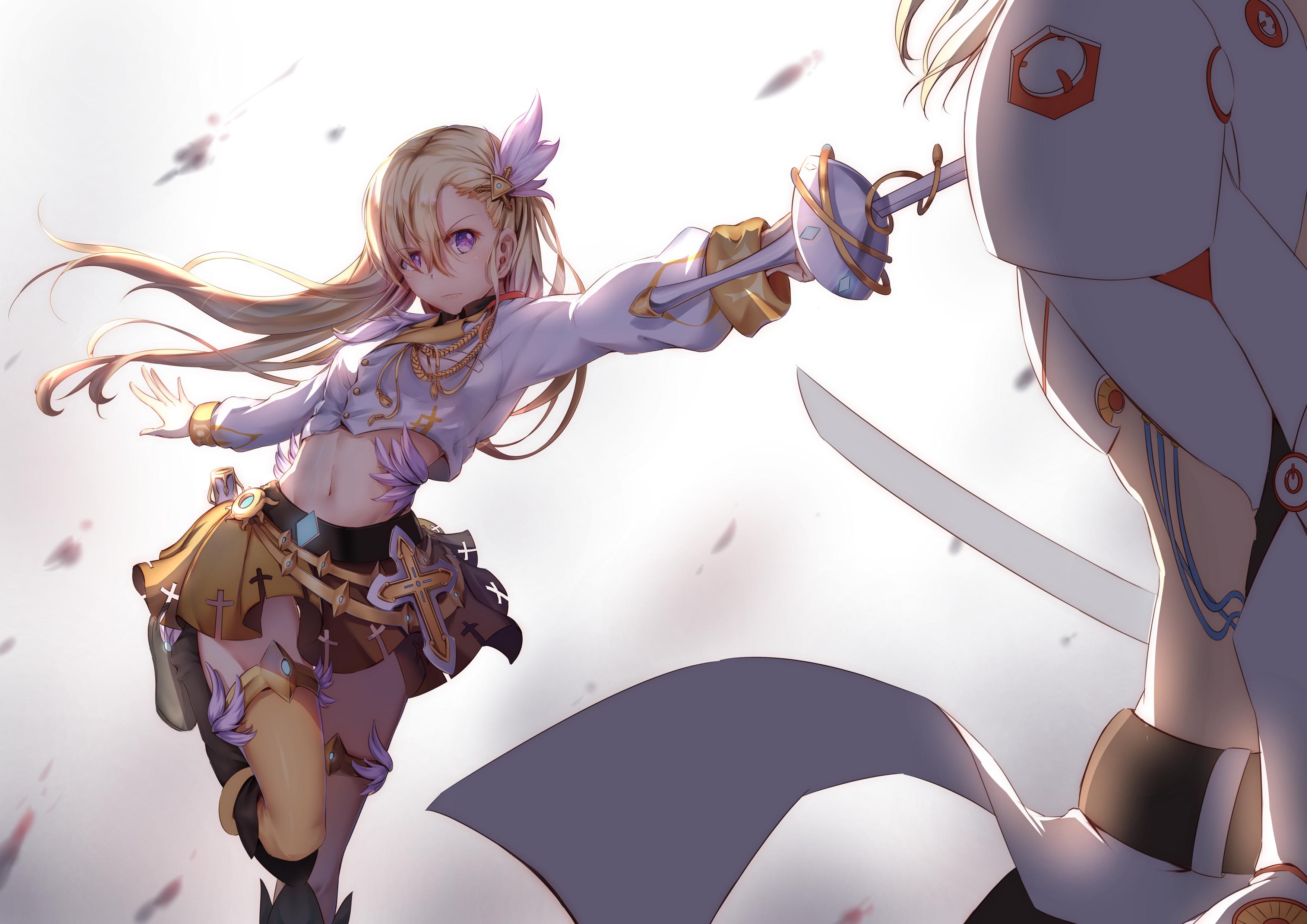 Cute Animated Wallpapers For Mobile Anime Girl Sword Long Hair 4k Hd Anime 4k Wallpapers