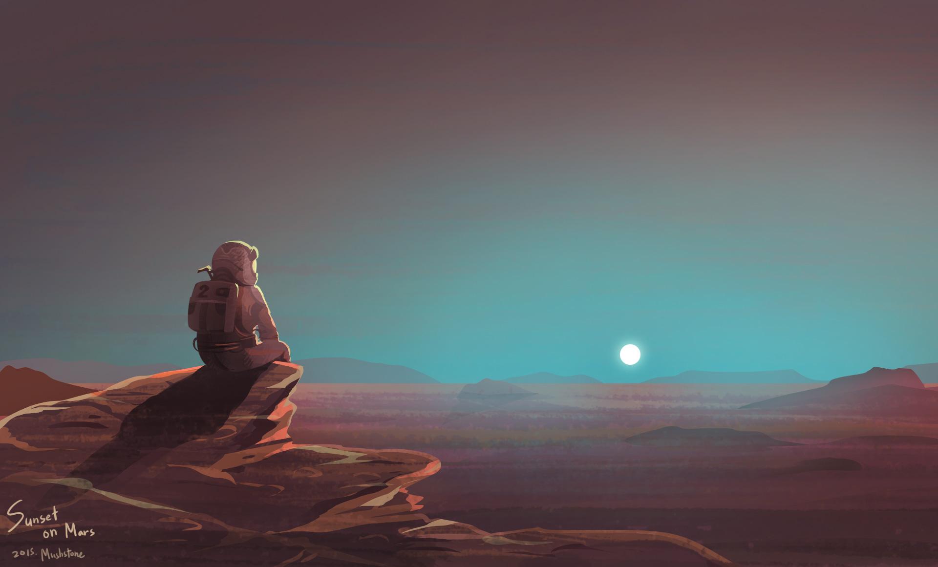 Asuna Android Cute Wallpaper Astronaut Watching Sunset On Mars Hd Artist 4k