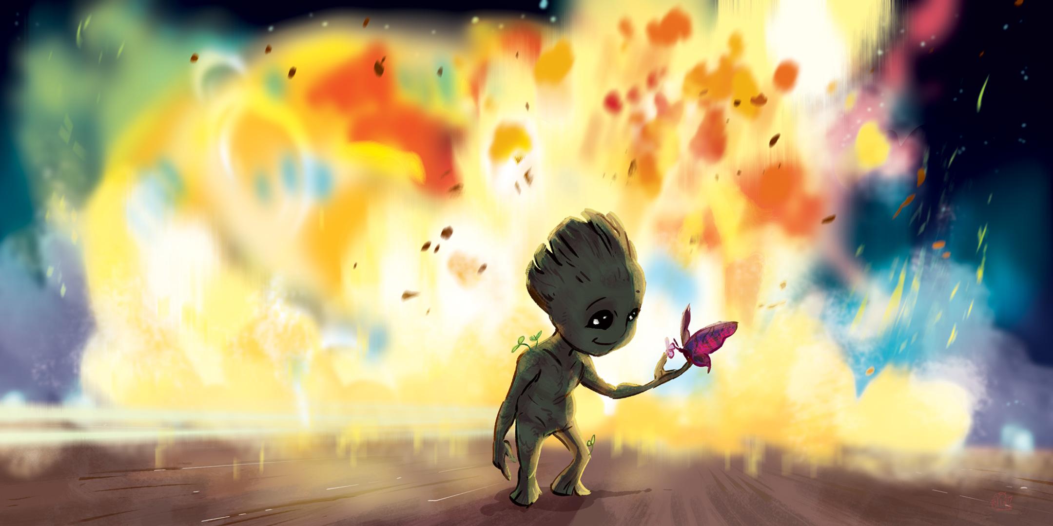 Psychedelic Wallpaper Hd Baby Groot Fan Art Hd Artist 4k Wallpapers Images