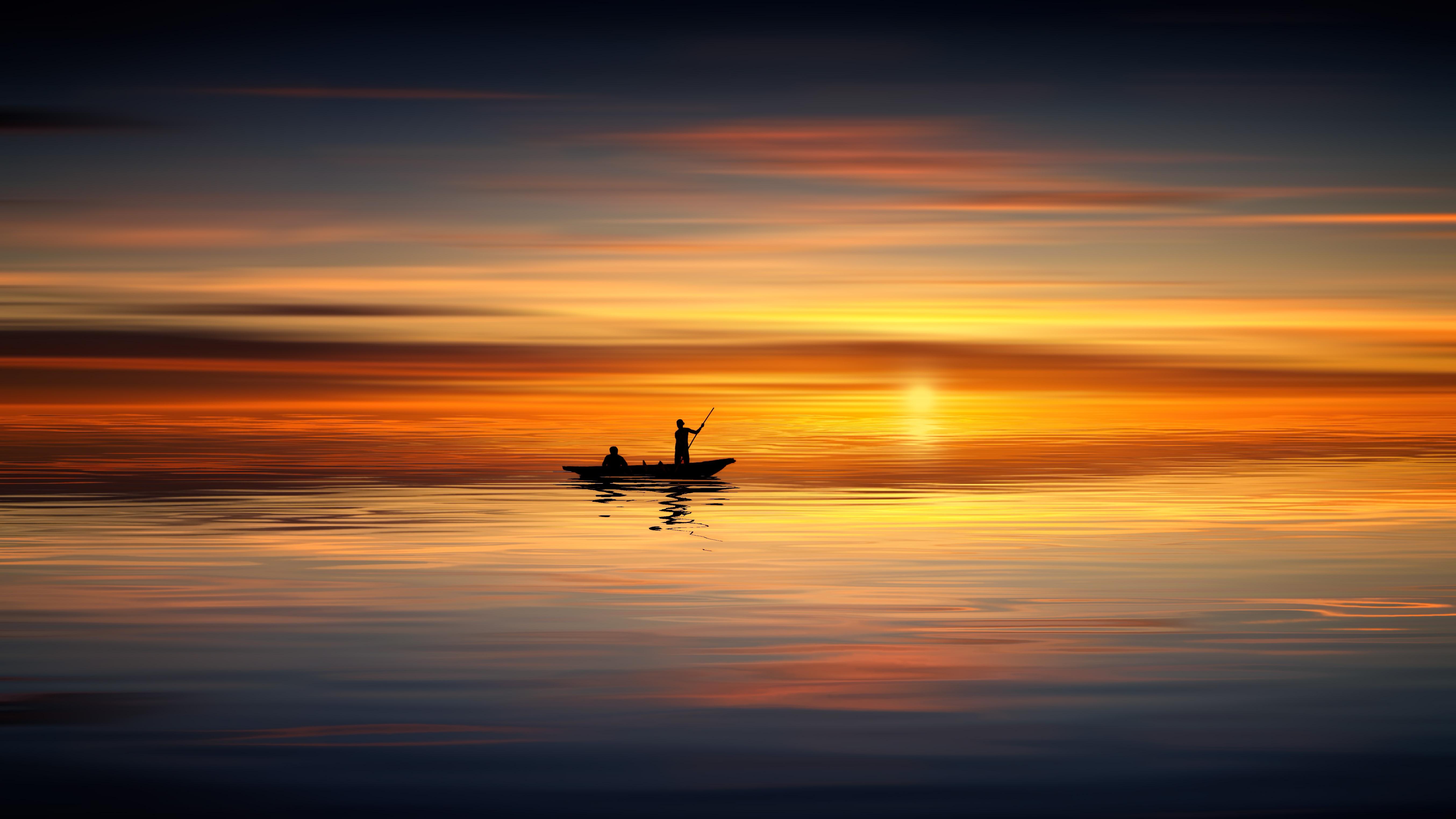Wallpaper 3d Buat Android Boat Ocean Sunset Landscape 5k Hd Photography 4k