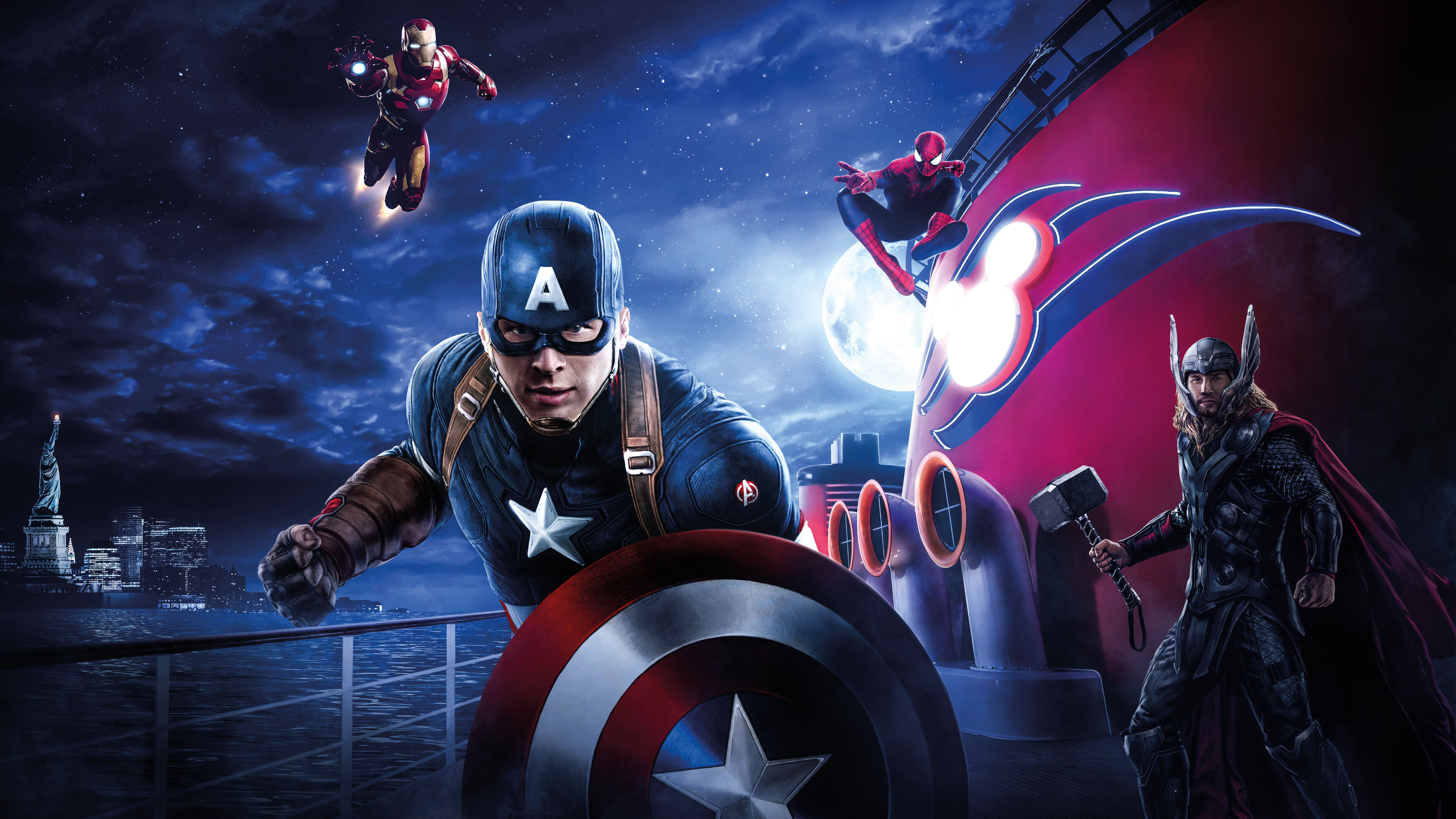 Spiderman Wallpaper 3d Android 3840x2160 Captain America Thor Iron Man Spiderman