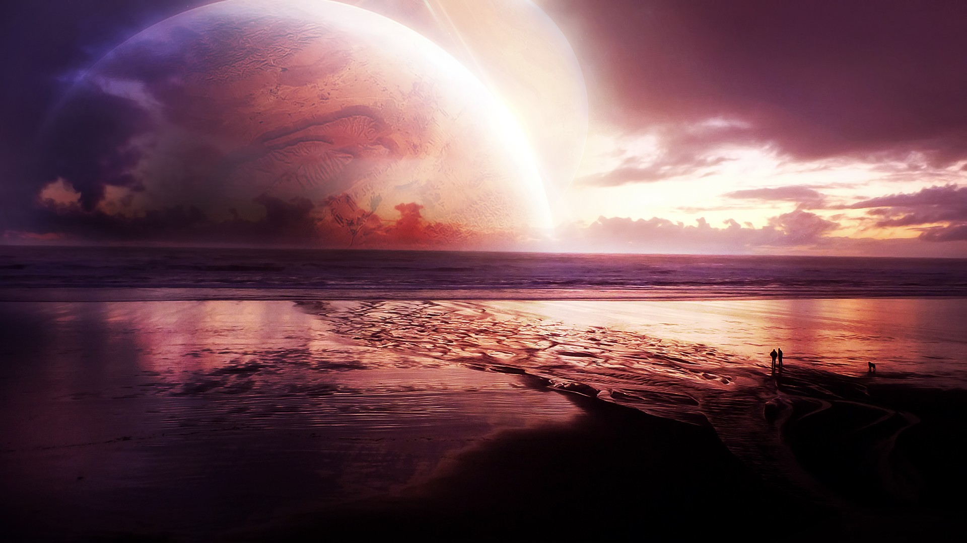 3d Hd Wallpaper For Android Mobile Cosmos Sunset Sea Hd Digital Universe 4k Wallpapers