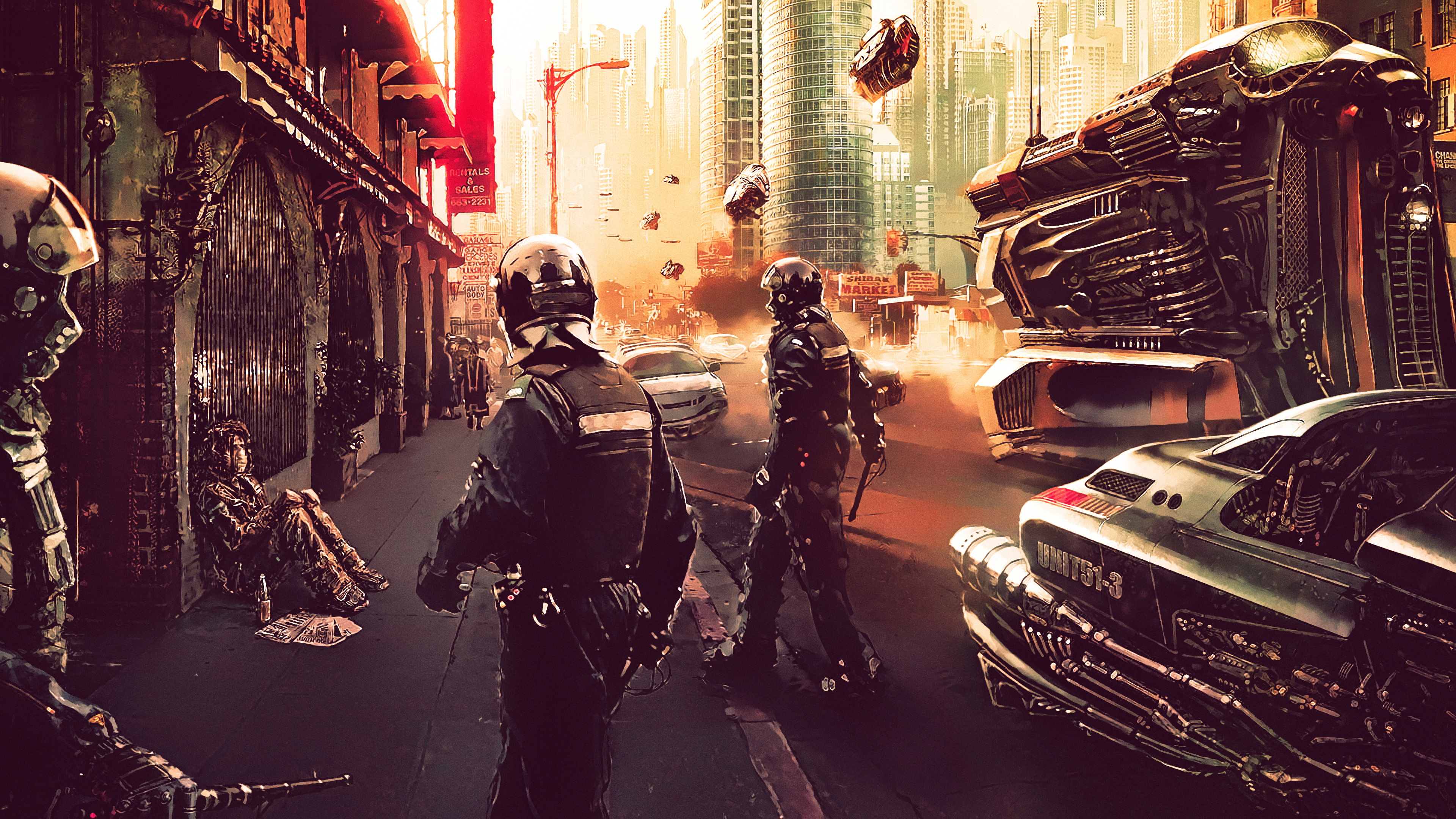 3d Futuristic Wallpapers Cyberpunk Police 4k Hd Artist 4k Wallpapers Images
