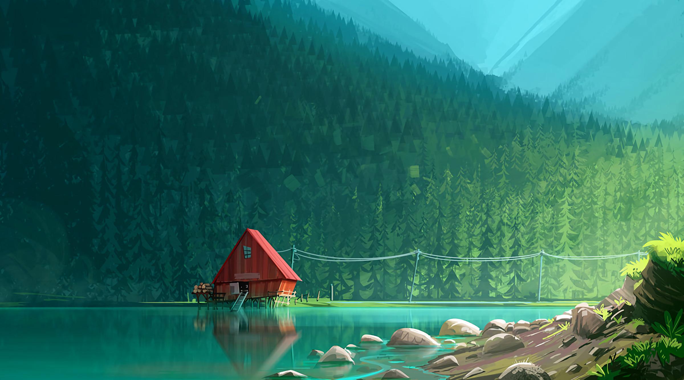 Download Engine 3d Live Wallpaper House In Woods Minimalism Artwork Hd Artist 4k