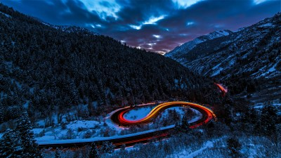 Long Exposure Lights Road Forest Snow 5k, HD Photography, 4k Wallpapers, Images, Backgrounds ...