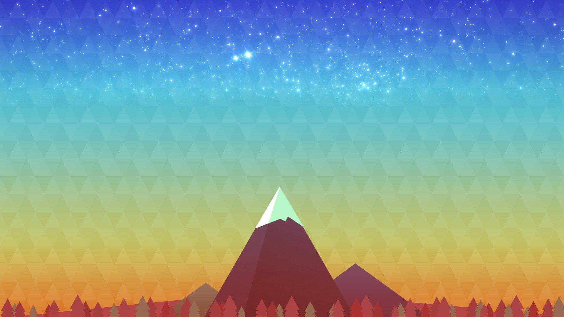 Pixel Forest Wallpaper Cute Minimalism Mountain Peak Hd Artist 4k Wallpapers Images