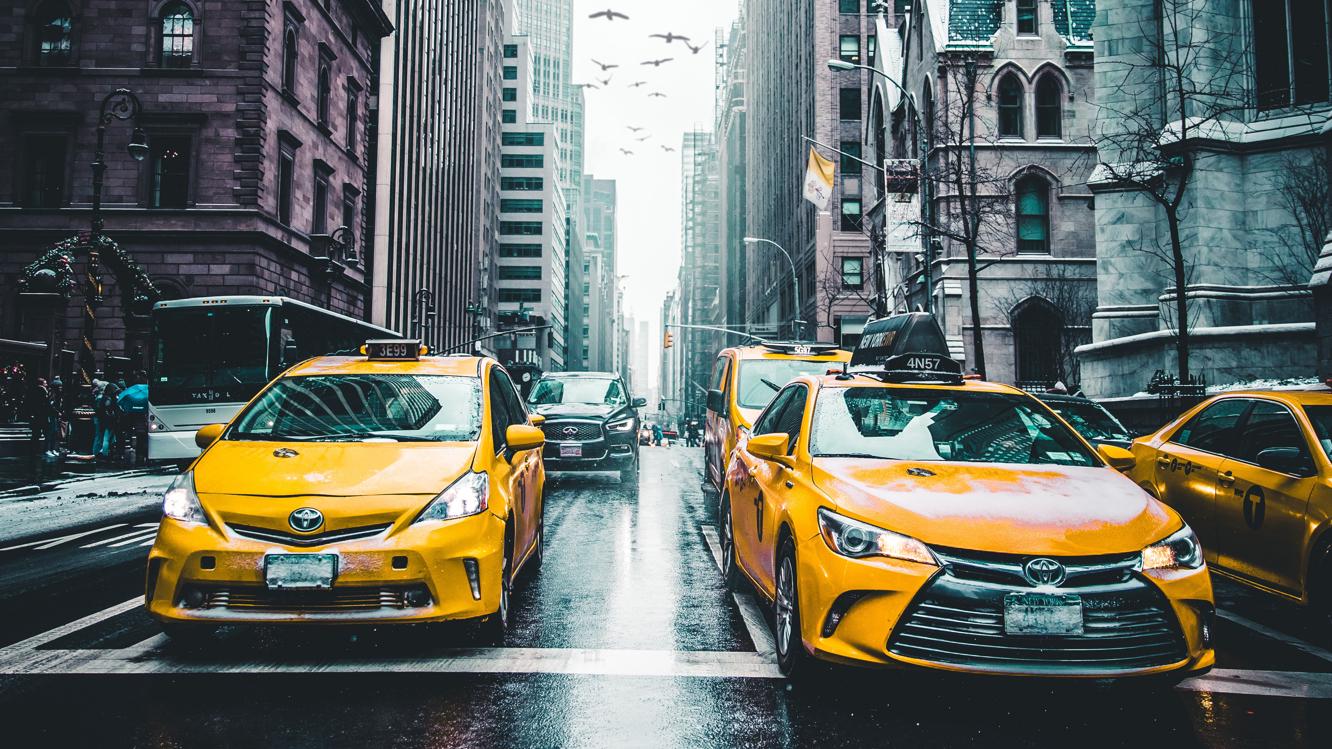 Car Logo Wallpapers For Mobile New York Taxi Wet Roads Tall Buildings 5k Hd Photography