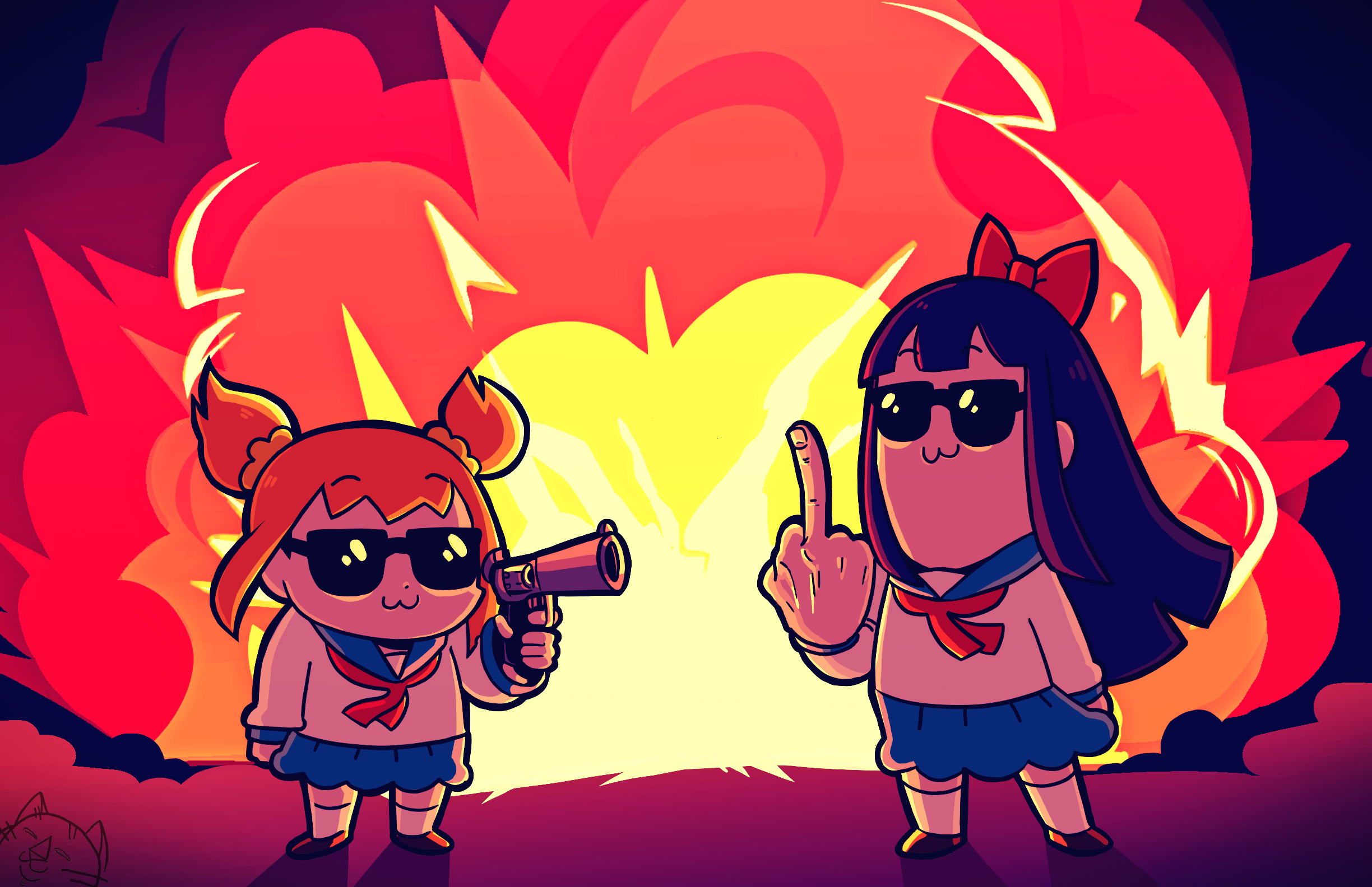 Indian Team 3d Wallpaper Pipimi And Popuko In Pop Team Epic Hd Anime 4k