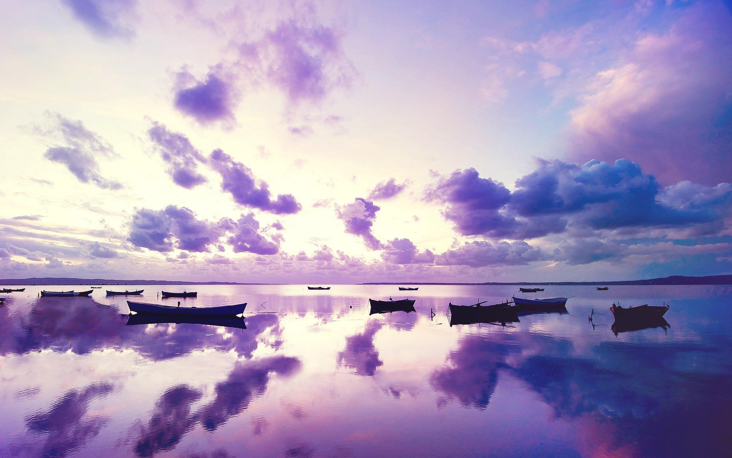 Cute Vintage Wallpaper Purple Sunset In Ocean Hd Nature 4k Wallpapers Images