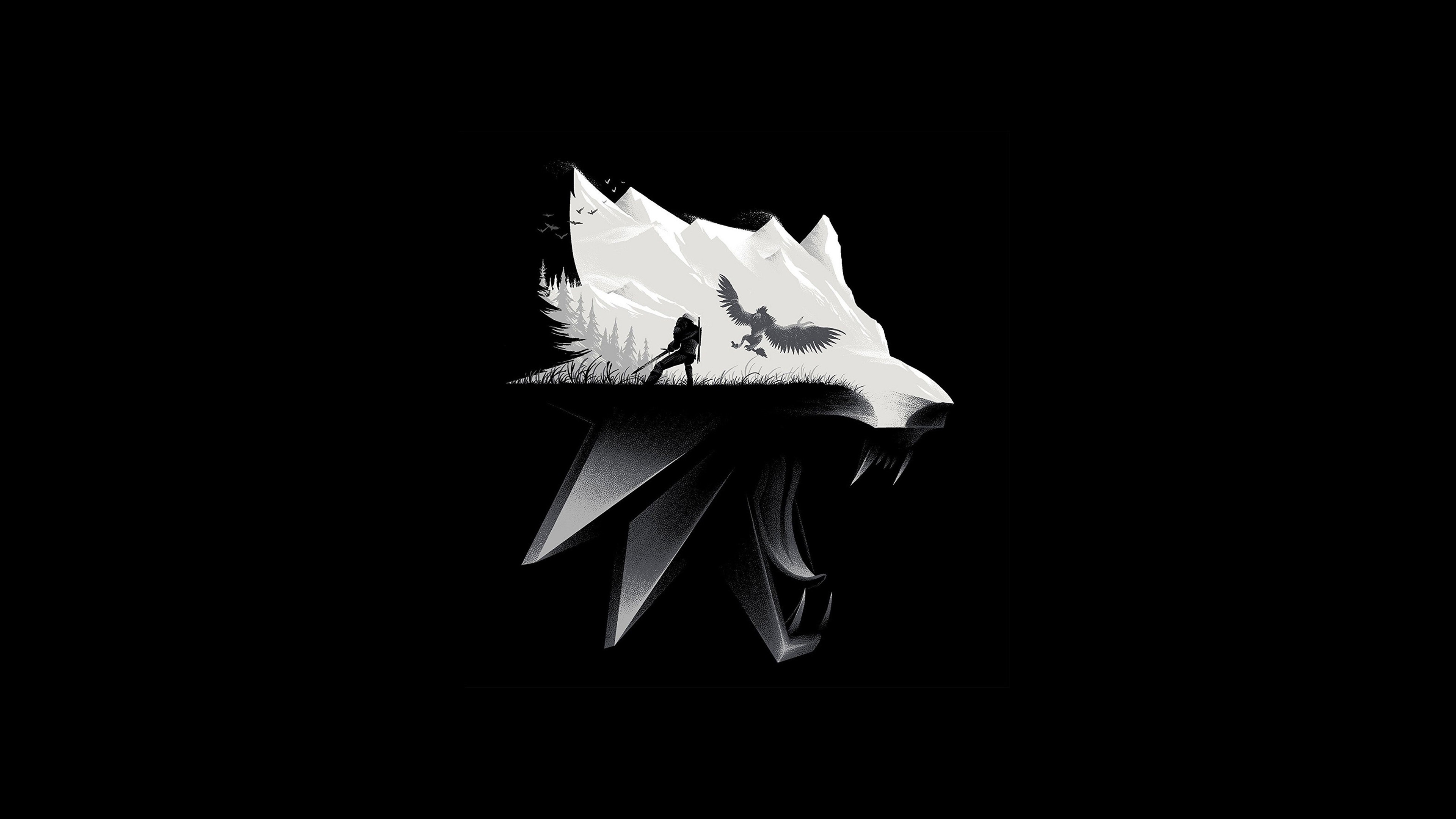 Cute Wallpaper Black And White Birds The Witcher 3 Wild Hunt Wolf Artwork Hd Games 4k