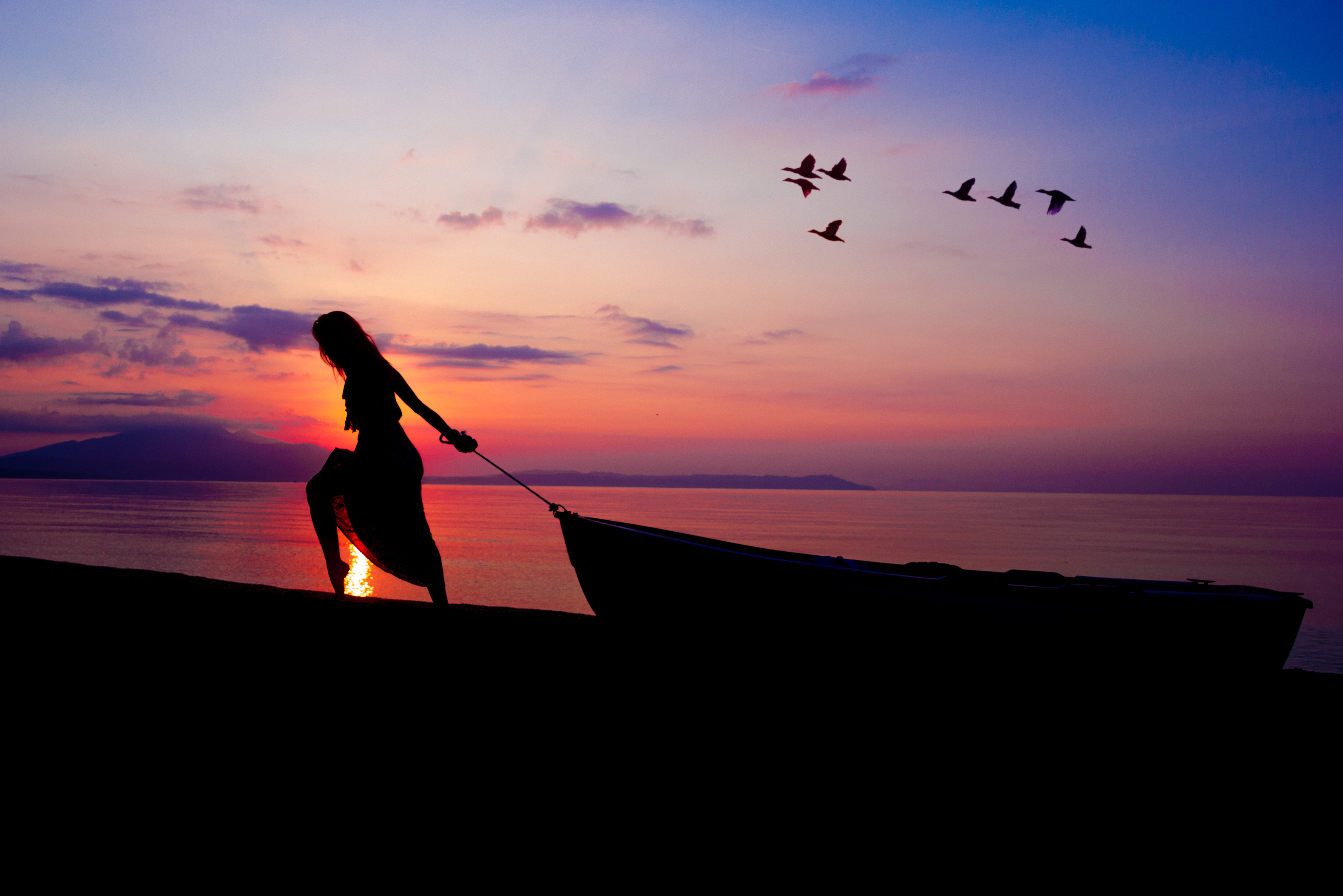 Lonely Cute Girl Wallpaper Women Towing Boat Beach Sunset Silhouette Hd Nature 4k