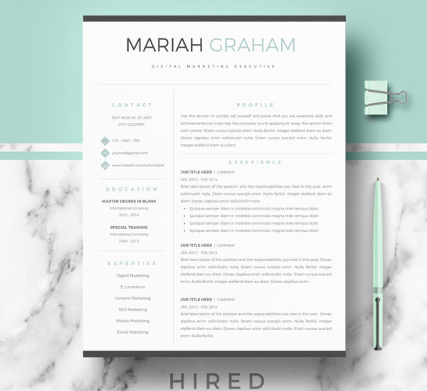 Resume Templates - Hired Design Studio - Modern Resume Templates