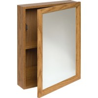 "16W x 20"" Surface Mount Oak Wood Mirrored Medicine Cabinet ..."