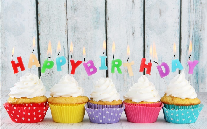 Birthday Cake Wallpaper 3d Download Happy Birthday Five Cupcakes Candles Colorful Letters