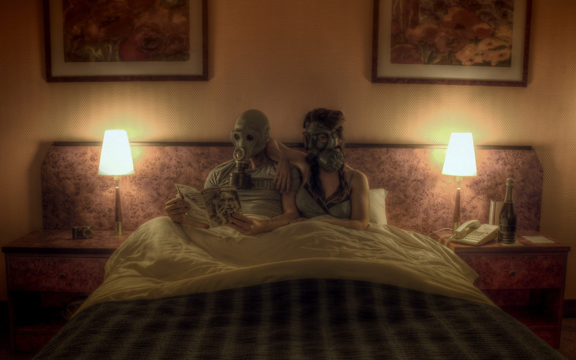 Bedroom Background Painting Photo Manipulation Couple Gas Masks Reading In Bed