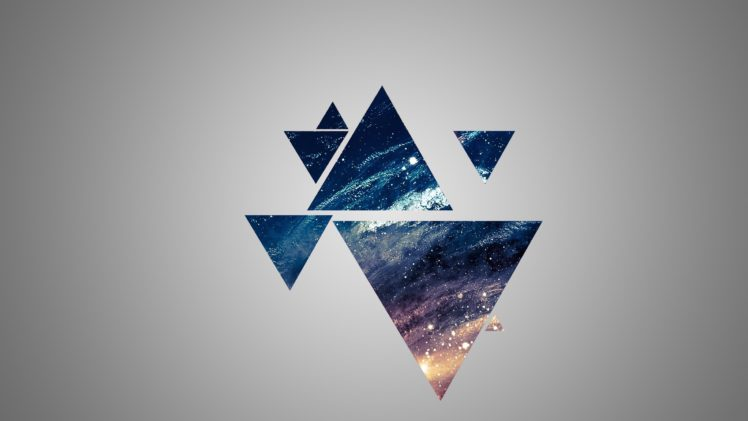 3d Illusion Wallpapers For Desktop Space Blue Yellow Gray Triangle Hd Wallpapers