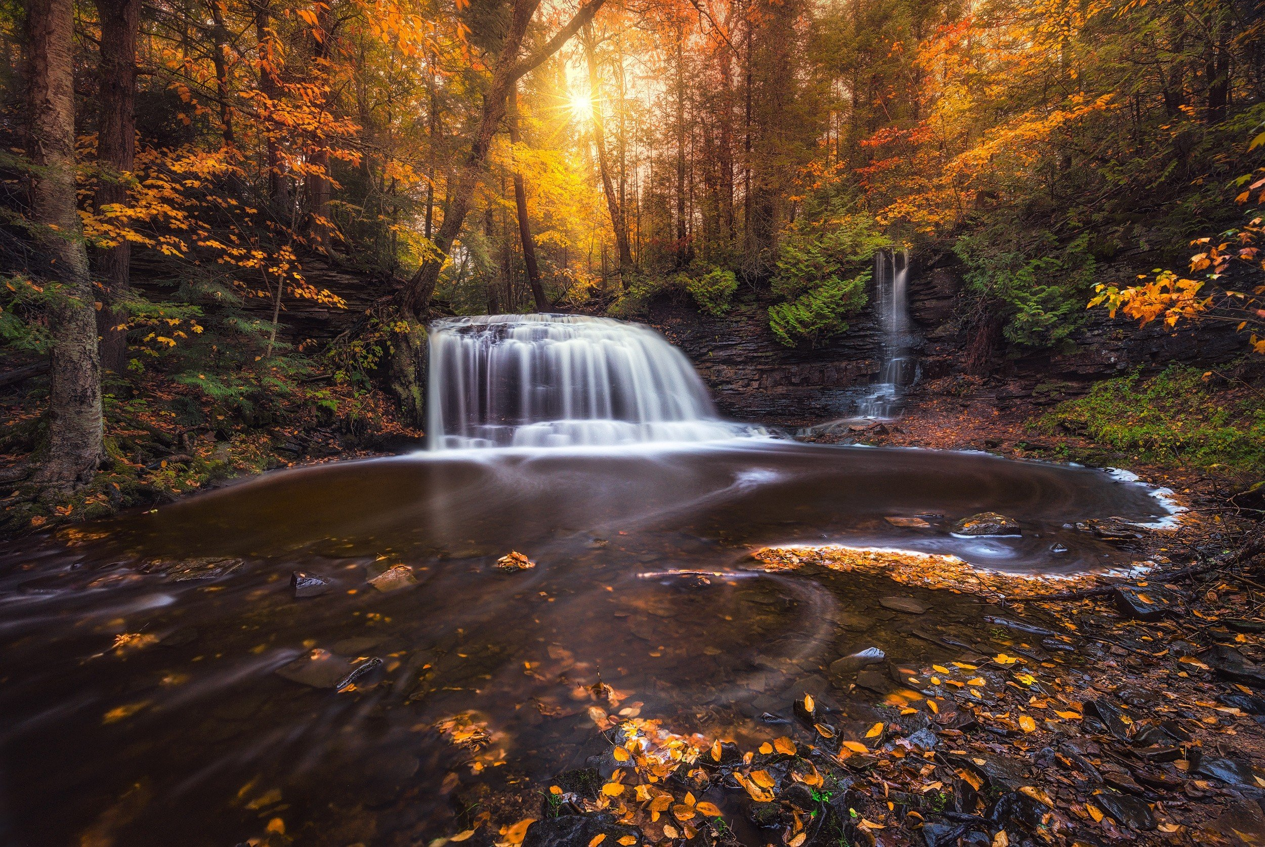 Fall Screen Wallpaper Photography Nature Landscape Fall Waterfall Forest