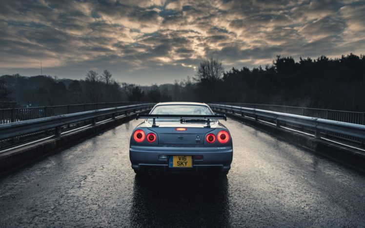 Nissan Gtr Car Hd Wallpapers Car Nissan Nissan Skyline Gt R R34 Blue Cars Rain