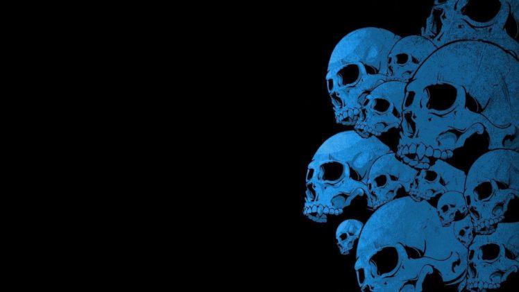black background, Blue, Skull HD Wallpapers / Desktop and Mobile