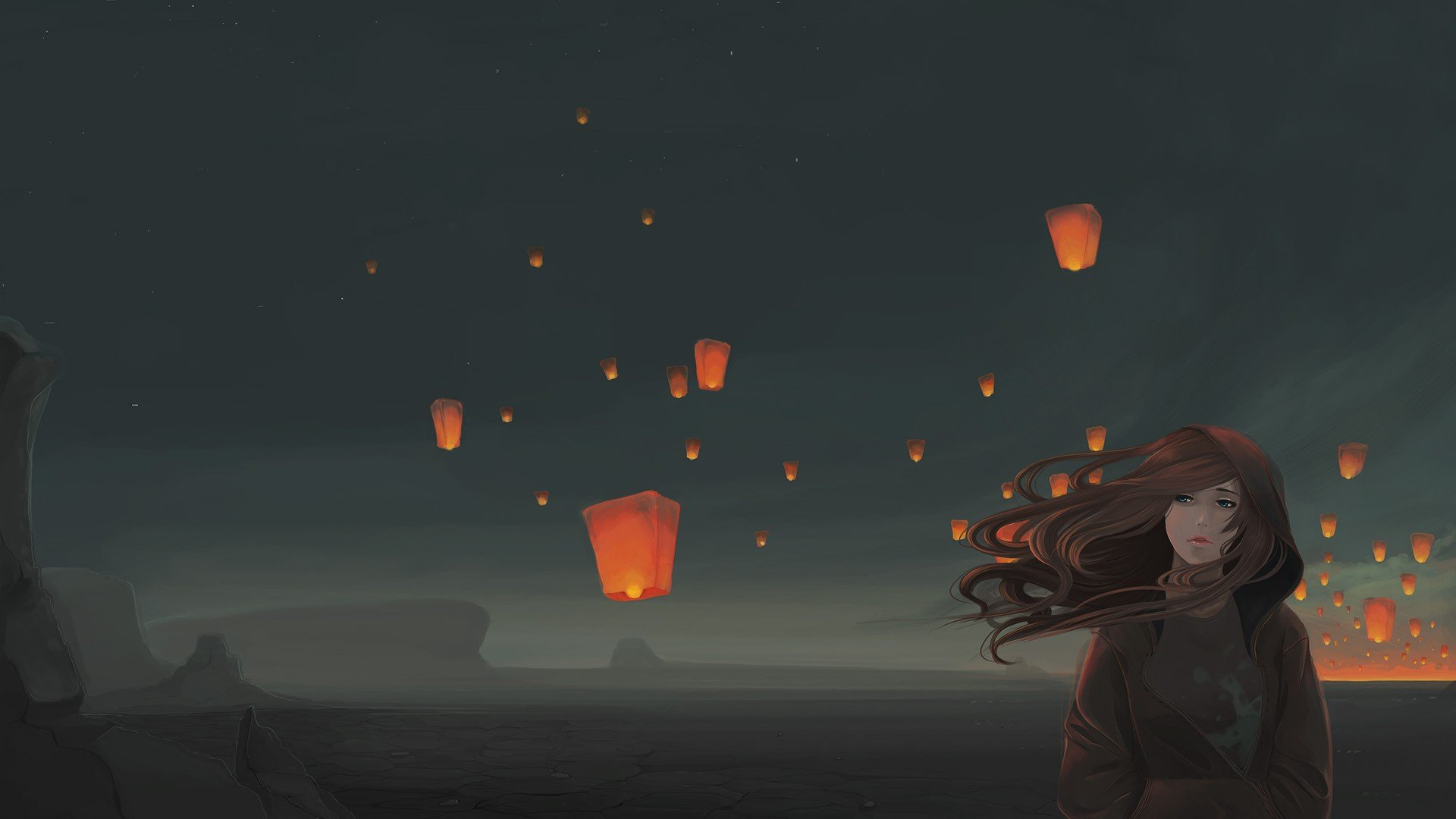 Sky Lanterns Wallpaper Iphone Sky Lanterns Windy Original Characters Night Hd