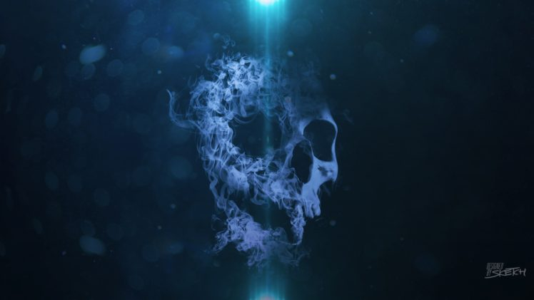 smoke, Skull, Bokeh, Blue background HD Wallpapers / Desktop and