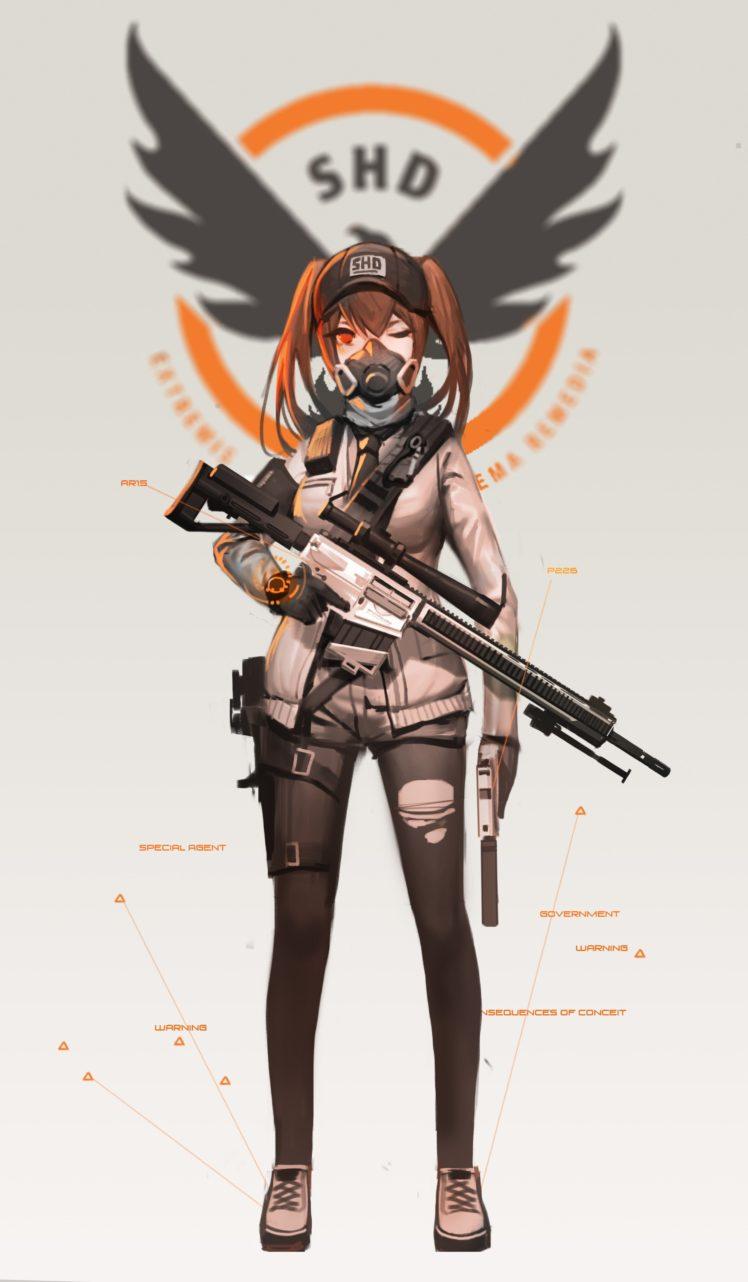 Sniper Rifle Wallpaper Hd Long Hair Brunette Red Eyes Anime Anime Girls Tom