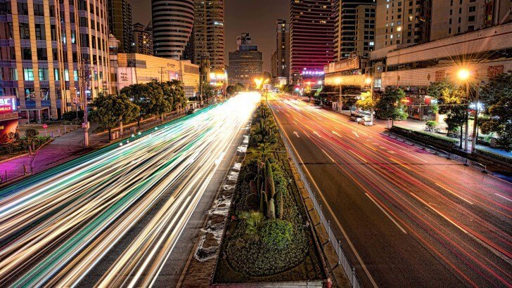 Iphone 6s Wallpaper Hd Quotes Busy Road In Shanghai At Night Wallpaper City