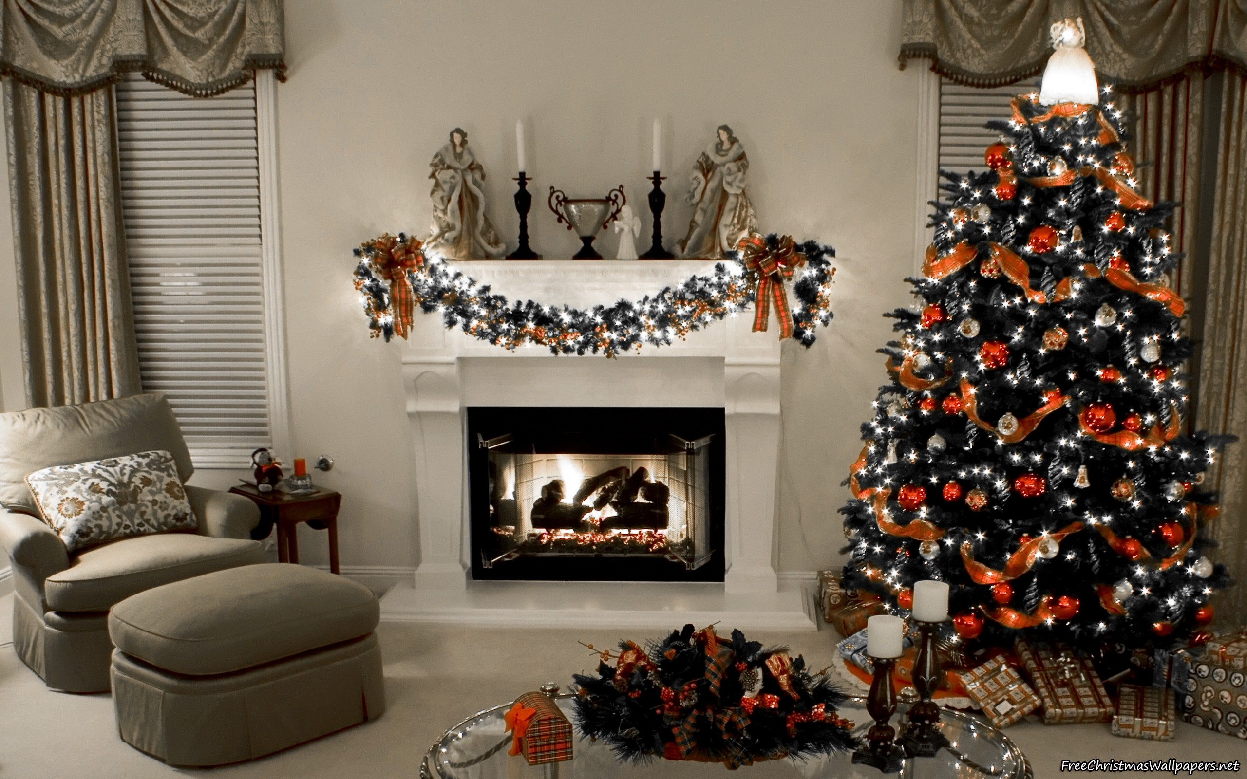 Christmas Fireplace Wallpaper Decorated Christmas Fireplace And Tree Hd Wallpapers Hd Wallpapers