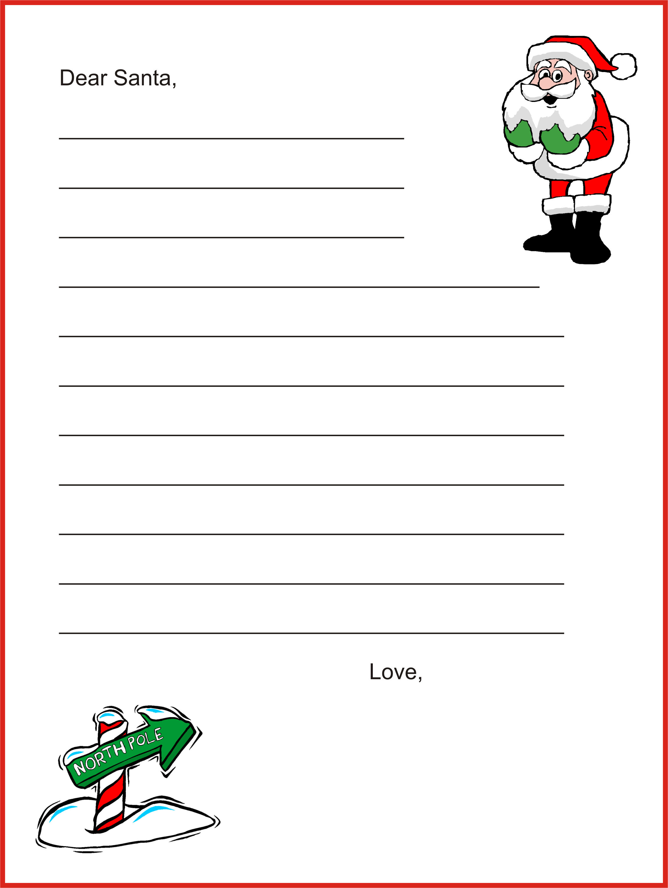 Free Printable Letters From Santa – Microsoft Word Santa Letter Template