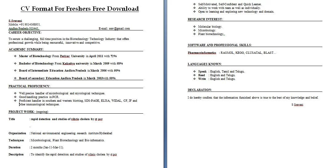 resume format for freshers free download overcv and resume samples ...