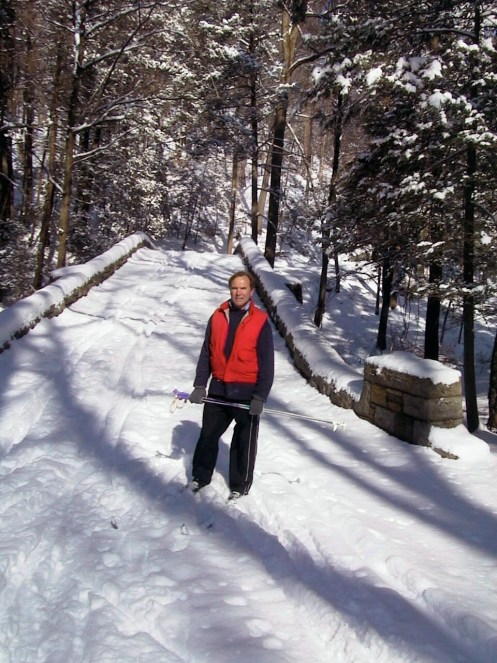 The writer cross-country skiing in Sleepy Hollow's section of the Rockefeller Preserve