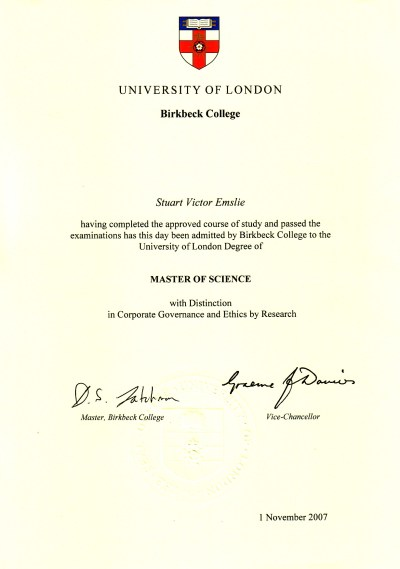 University Of London Degree Certificate