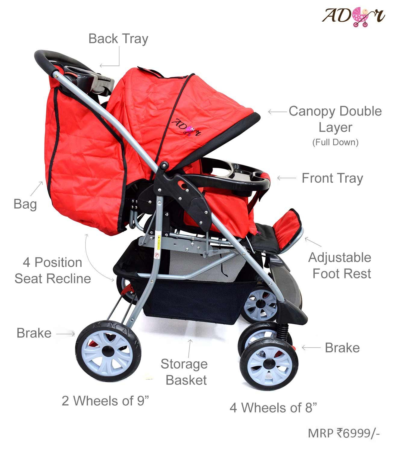 Toddler Stroller India Compare Buy Ador Luxe Baby Stroller 55 Red Online In India At Best Price Healthgenie In