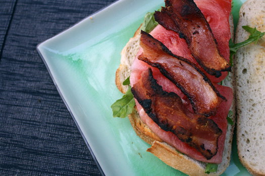 watermelon lettuce and bacon