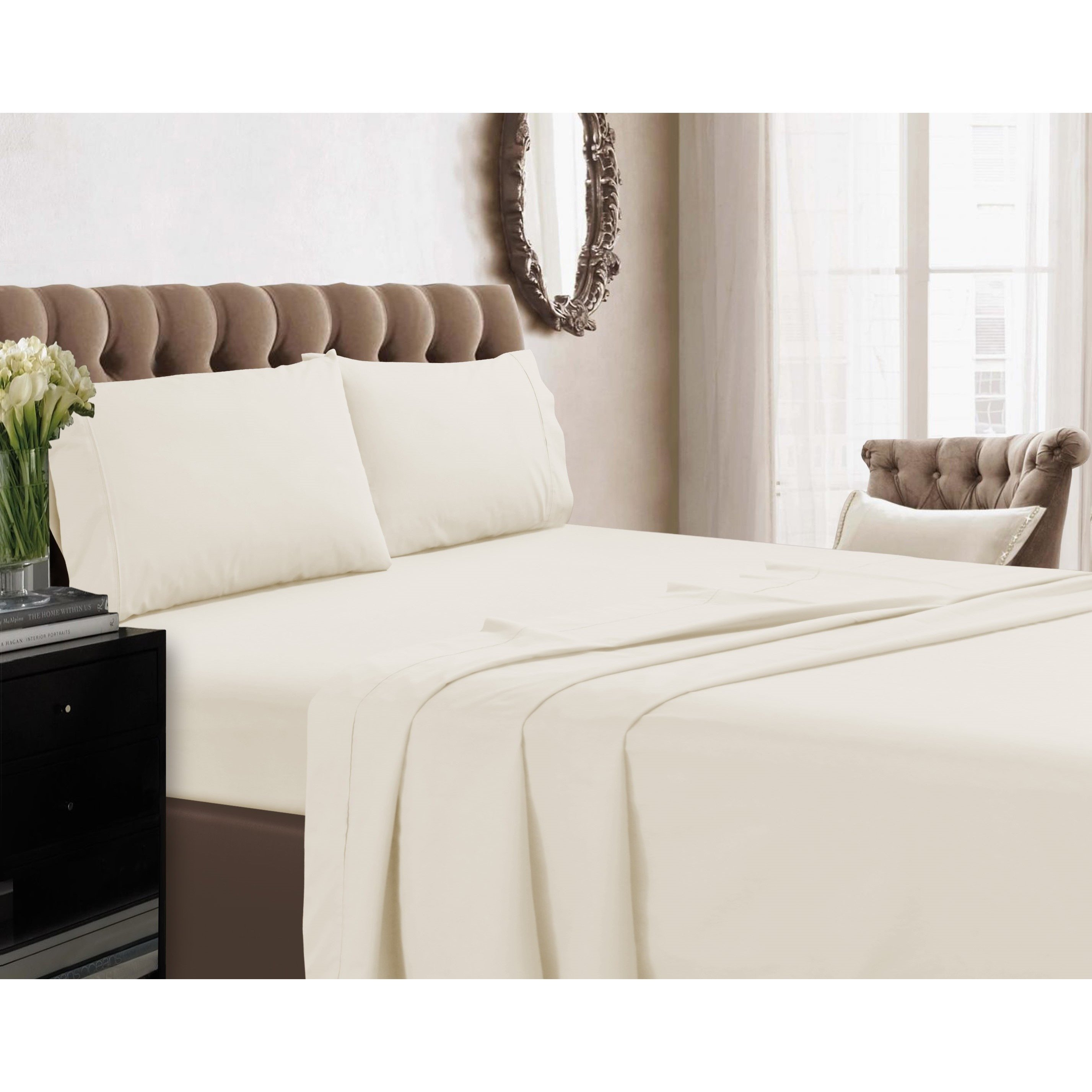 Deep Fitted Sheets Queen Size King Bed Set Off White Earthing Grounding With 15