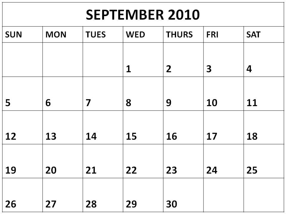 One Month Blank Calendar Template