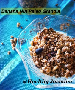 This granola has no bananas in it, the combination of nuts, natural sugars and carob chips gives it that banana flavor