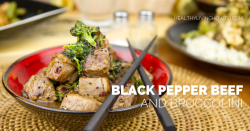 Healthy Recipe: Black Pepper Beef & Broccolini | healthylivinghowto.com