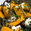 Lentils with Roasted Beets, Butternut Squash and Goat Cheese Salad