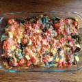 Tomato, Potato and Spinach: yummy and quick vegetarian casserole