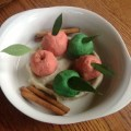 Sensory tub of apple pie play dough