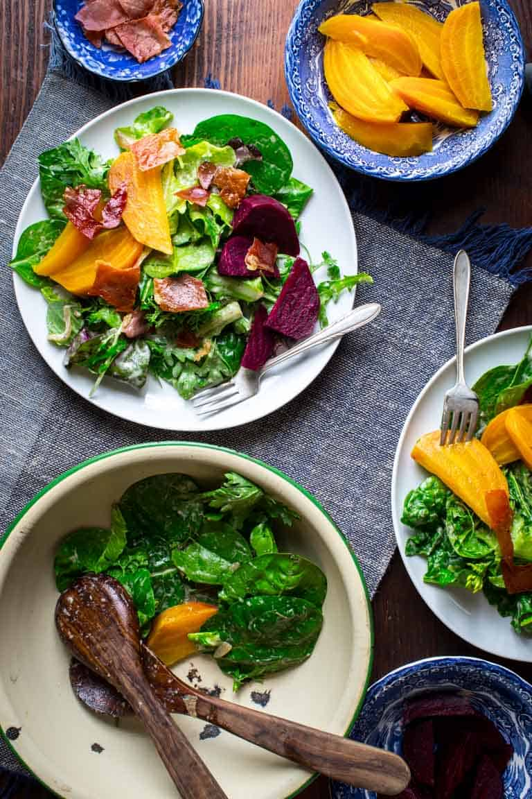 Beet Am Hang Green Salad With Beets And Prosciutto Chips Healthy Seasonal Recipes